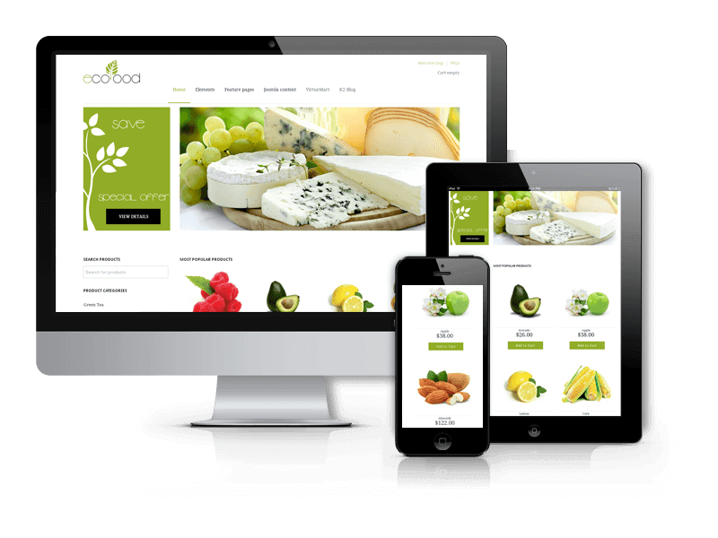 Best Joomla Virtuemart template 2015 from OrdaSoft - EcoFood