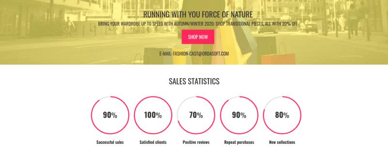 Fashion cast joomla virtuemart template, sales statistics