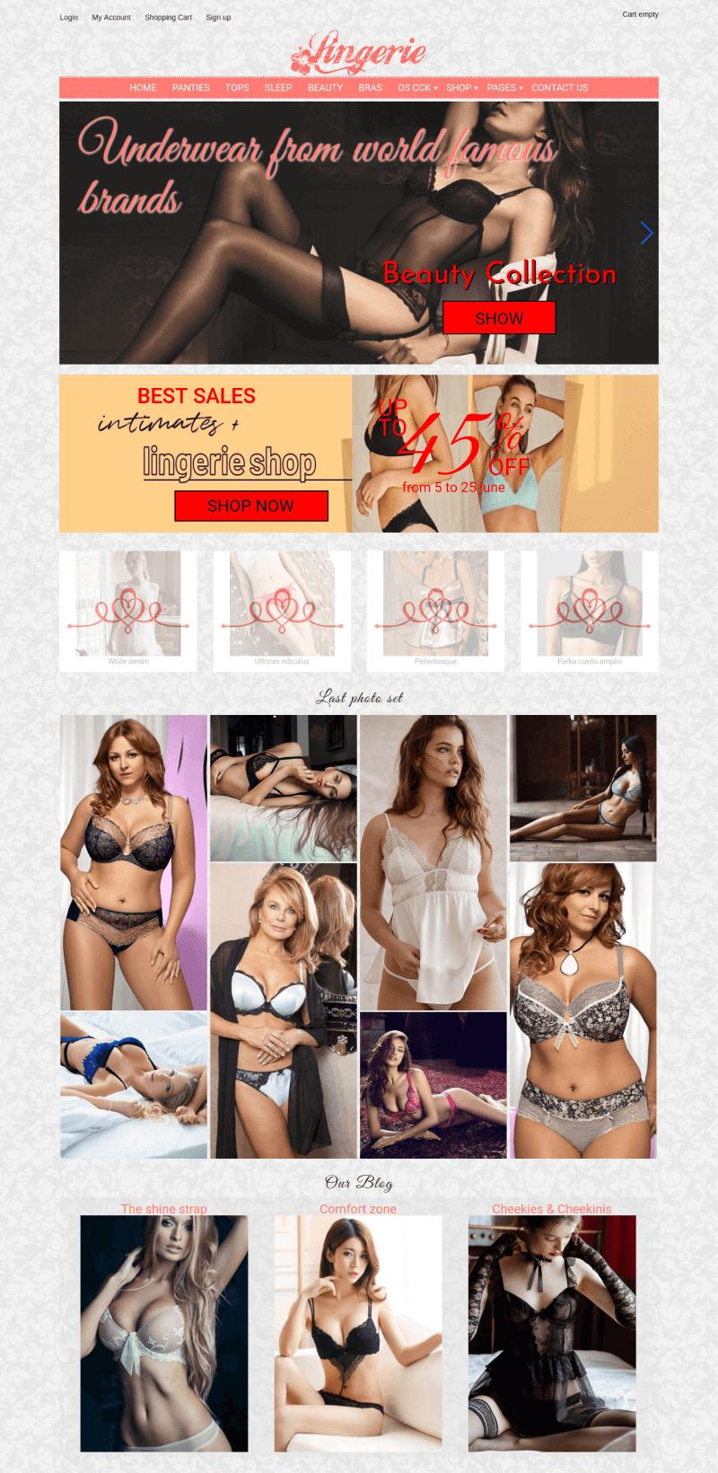 Lingerie store Virtuemart Joomla template for create lingerie store website