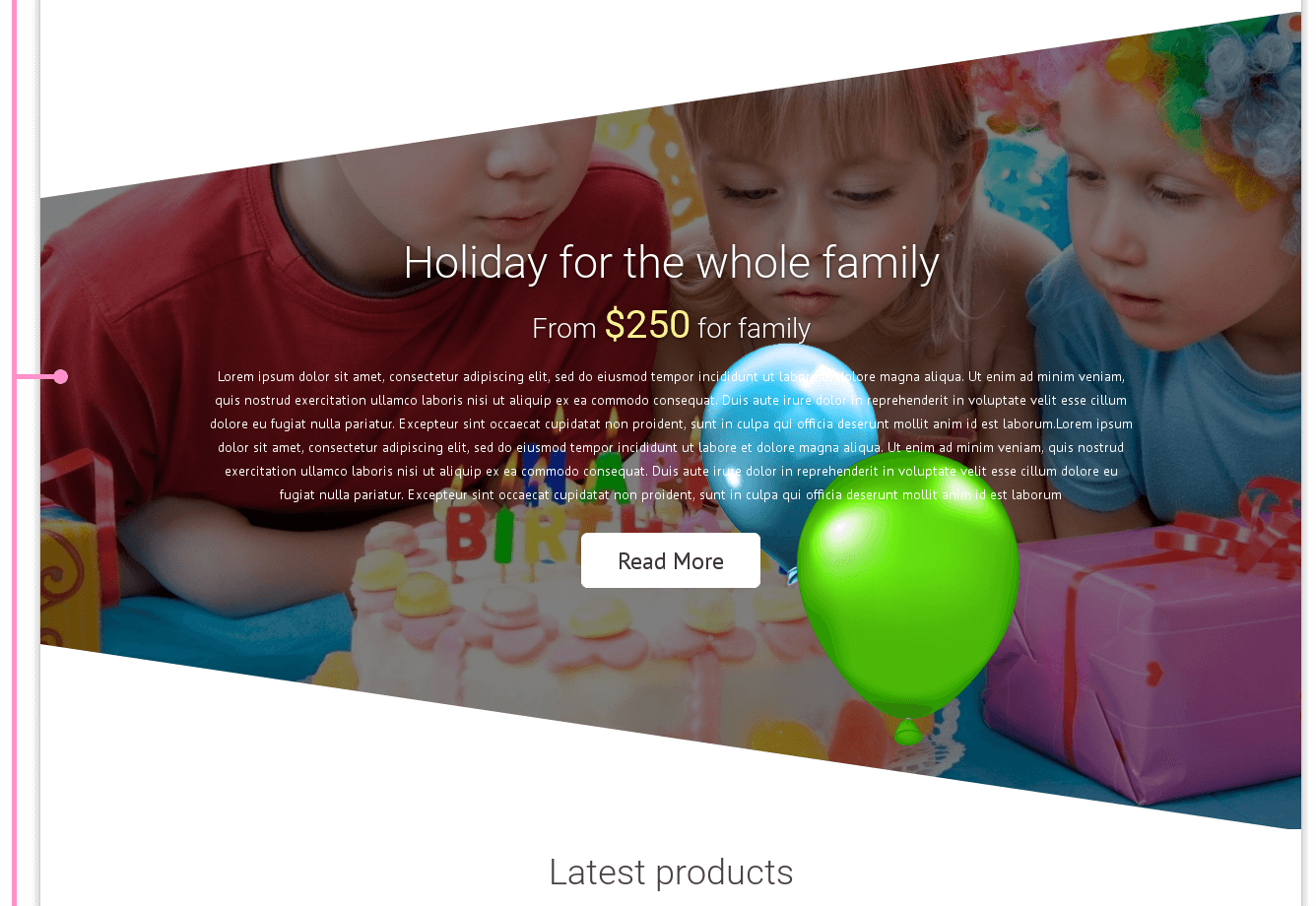 Offer in kids website template Party
