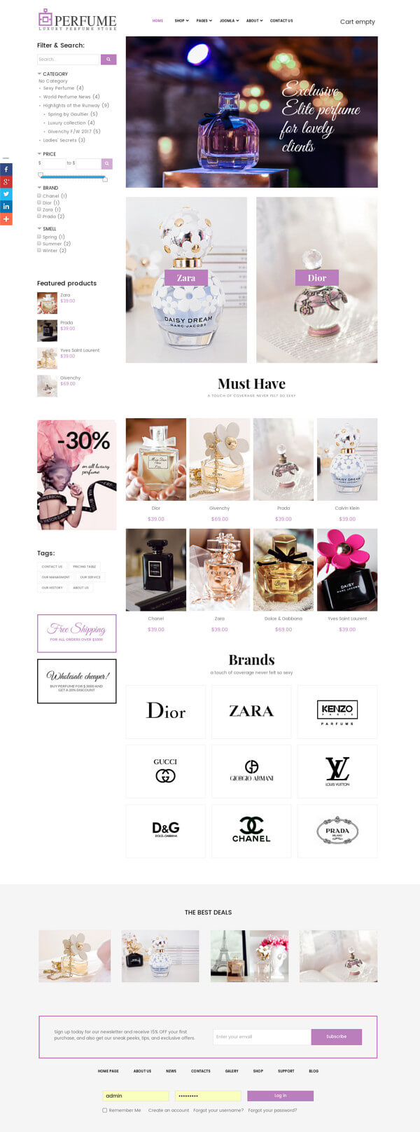 Perfume - Joomla eCommerce template, full screen