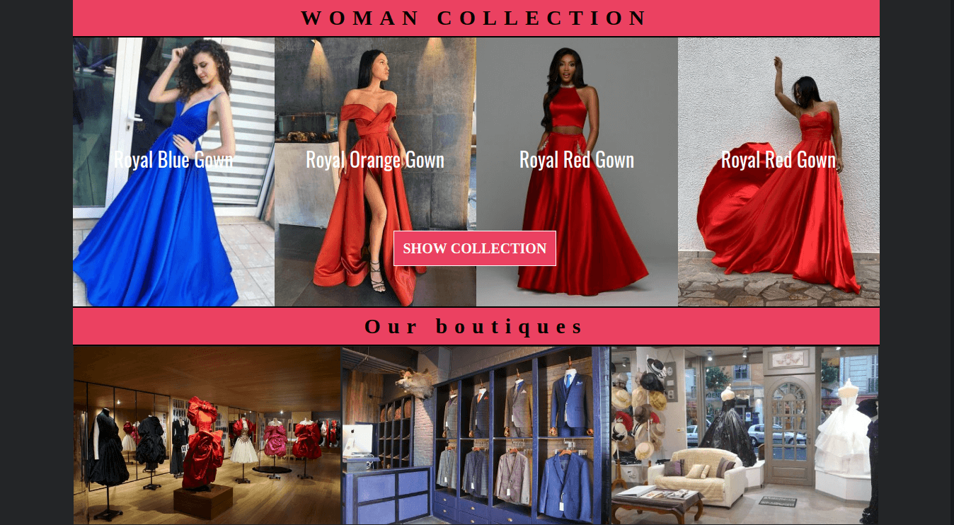 pink-joomla virtuemart template for create clothing store website section our boutiques