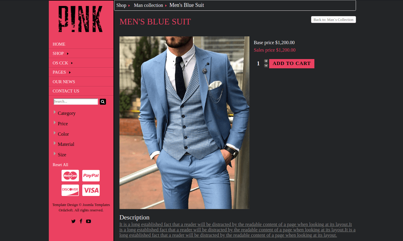 pink-joomla virtuemart template for create clothing store website section single product