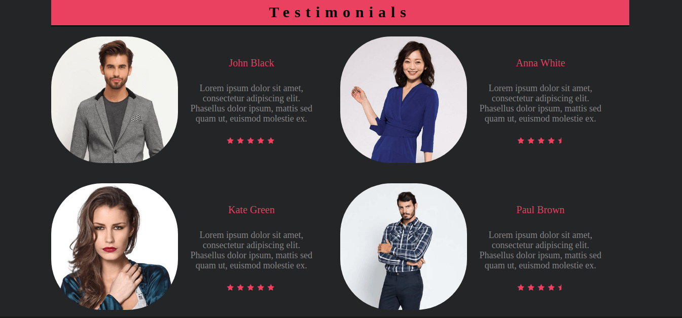 pink-joomla virtuemart template for create clothing store website section testimonials