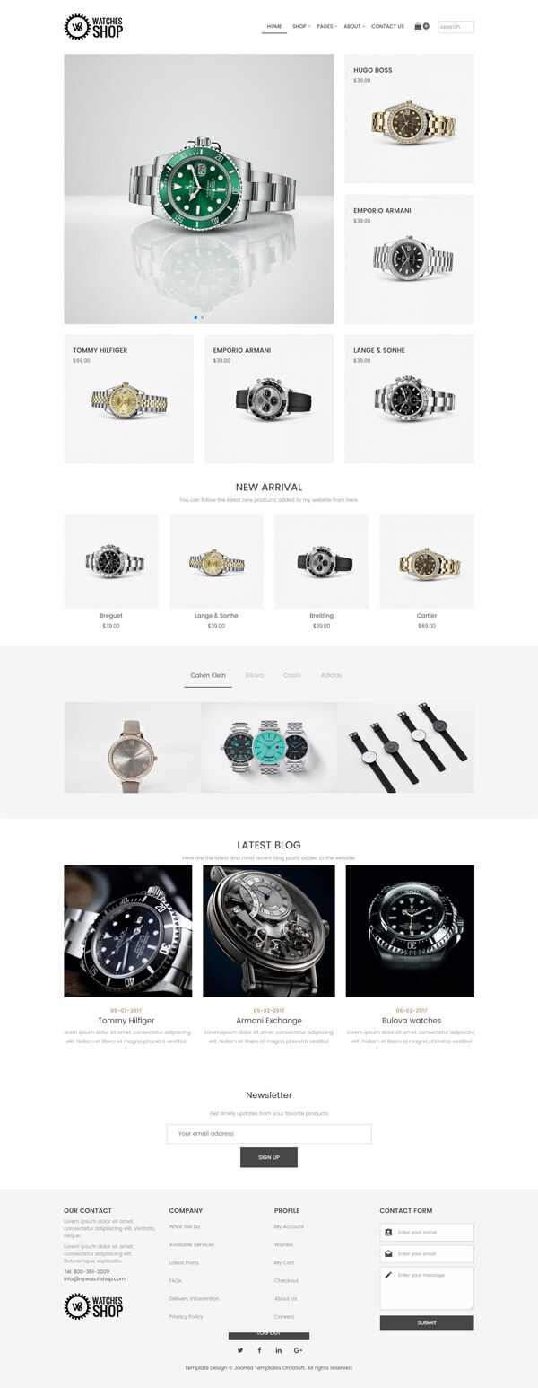 Watches Shop, Free Virtuemart Joomla template, full screen