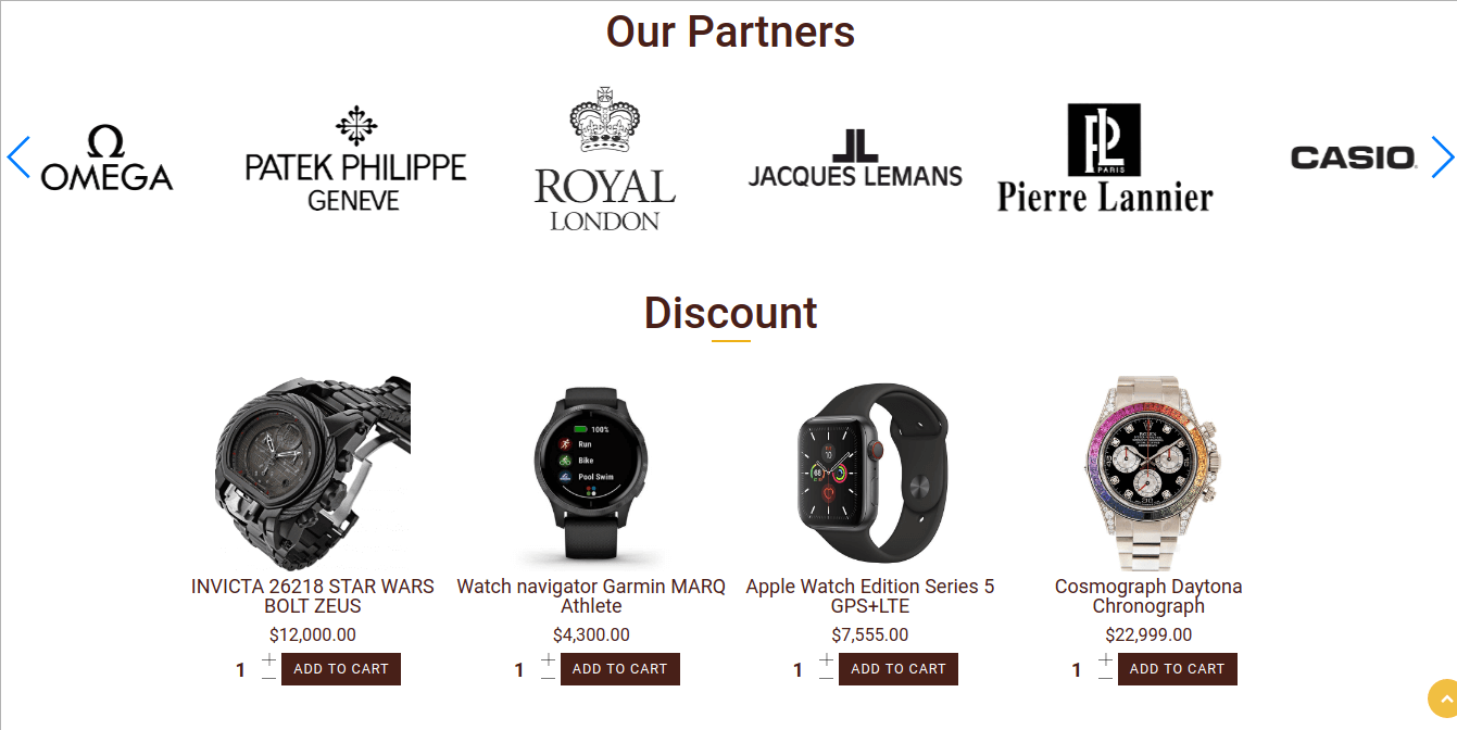 Watches shop, Joomla Virtuemart template for create watches store website, section discount products