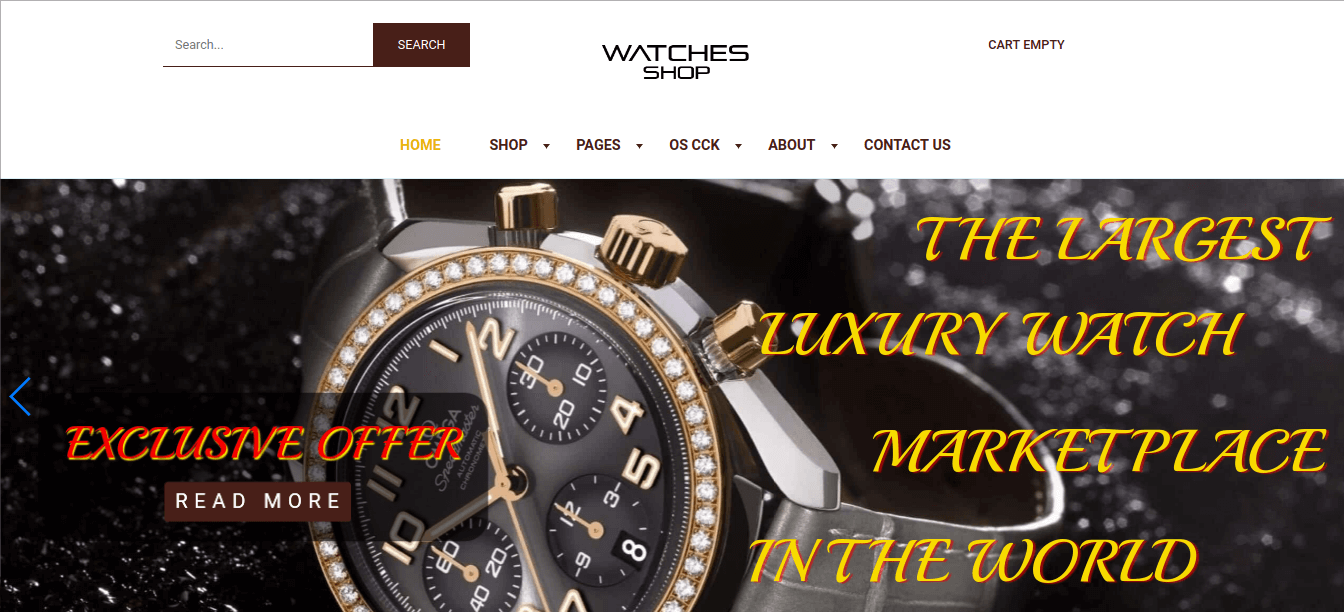 create watches store website