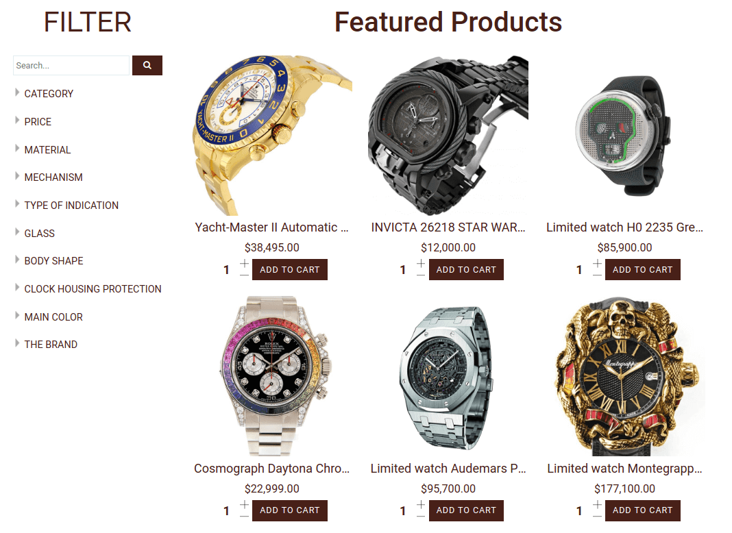 watches shop, joomla ecommerce template for create watches store website, section best sales