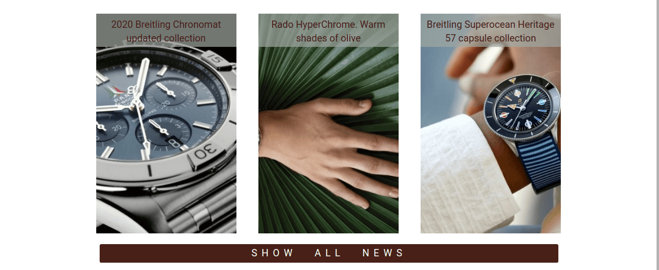 Watches shop, Joomla Virtuemart template for create watches store website, section news company