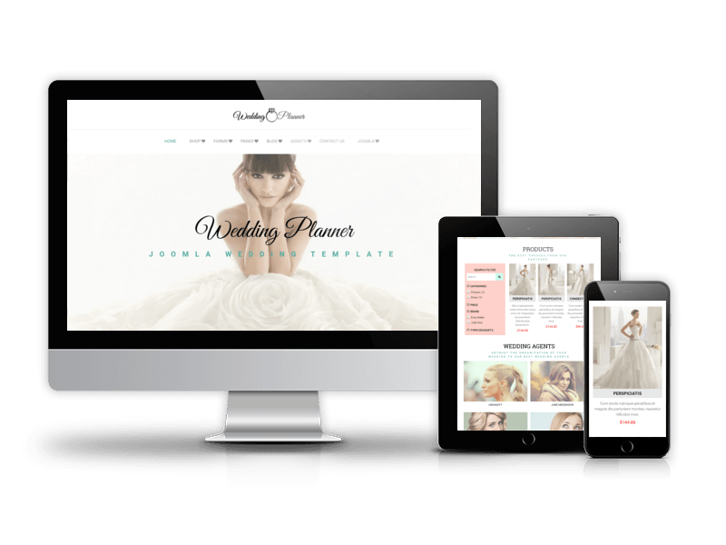 Wedding Joomla template for using as wedding agency, photography wedding portfolio page