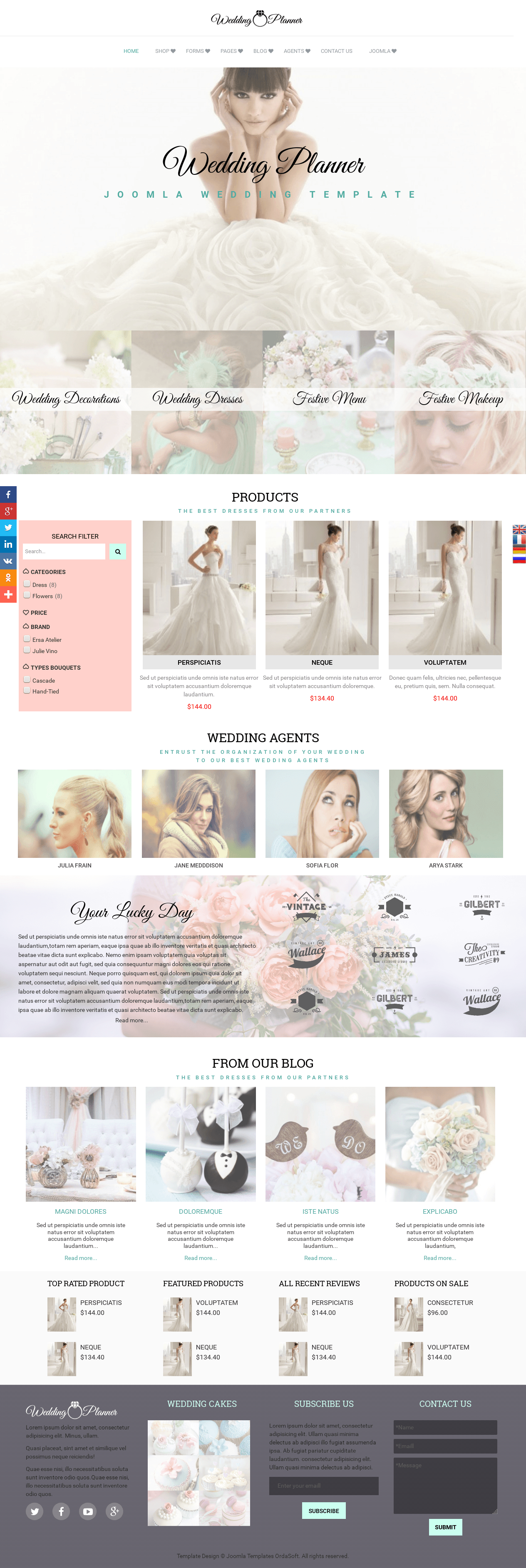 wedding planner joomla wedding template