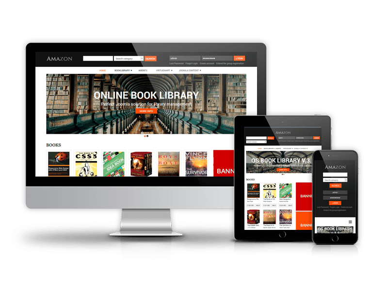 amazon digital library website template book library joomla