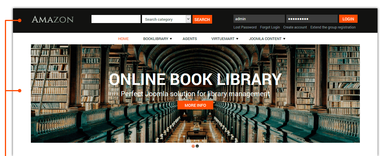 Amazon Digital Library Website Template Book Library Joomla Templates Joomla Templates