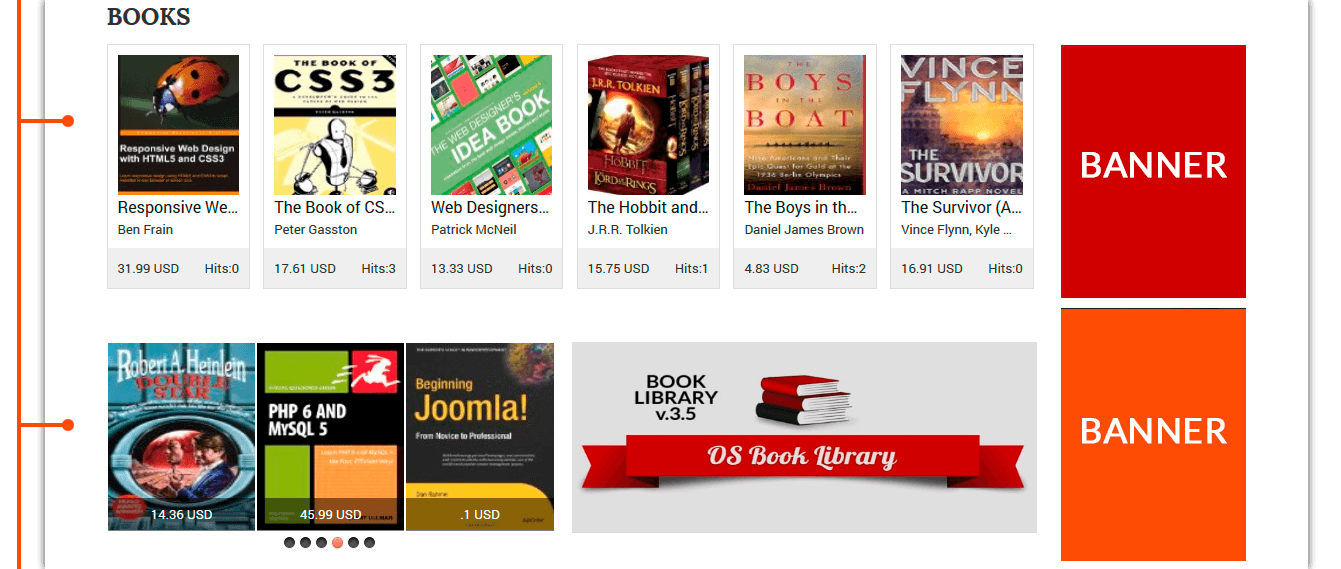 featured books in Amazon Book Library Joomla Template