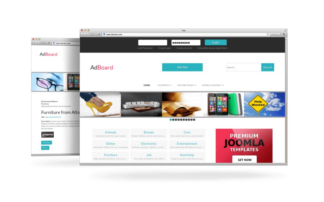 Ad Board Classified Joomla Template - Product ad template