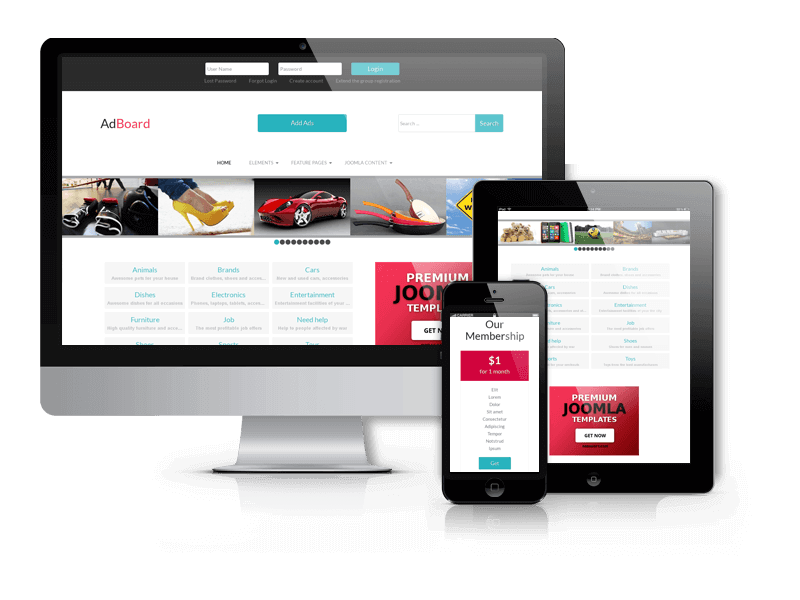 Ad Board, classified Joomla template