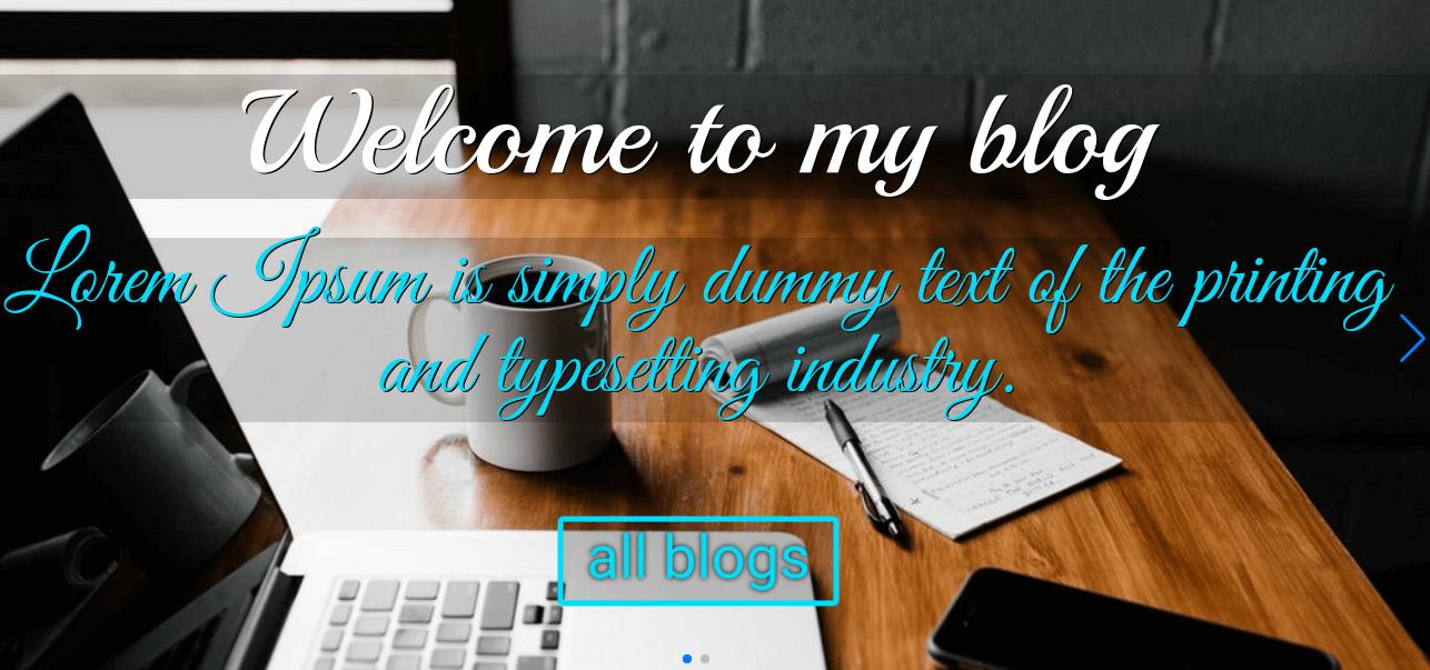 Blog Website Template slider
