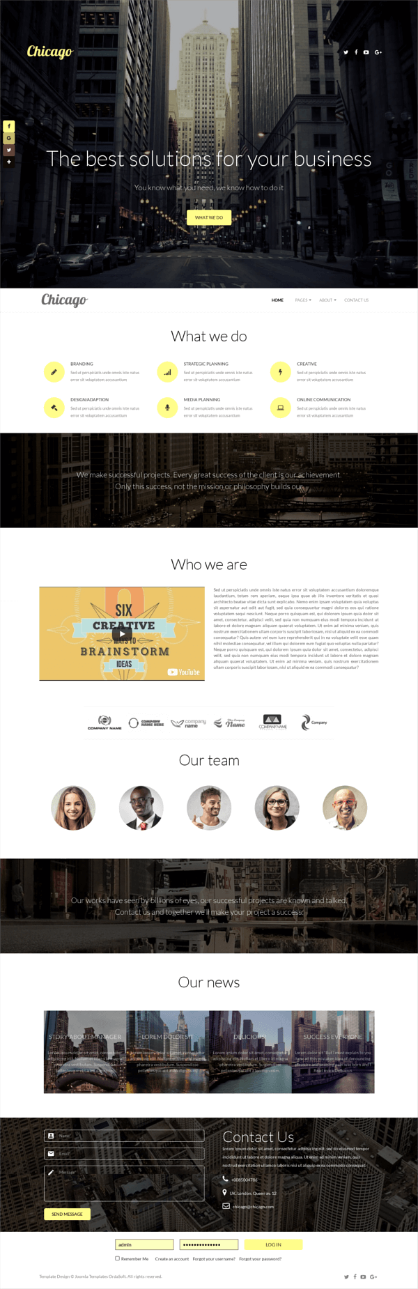 Chicago, Business Joomla template for create business website