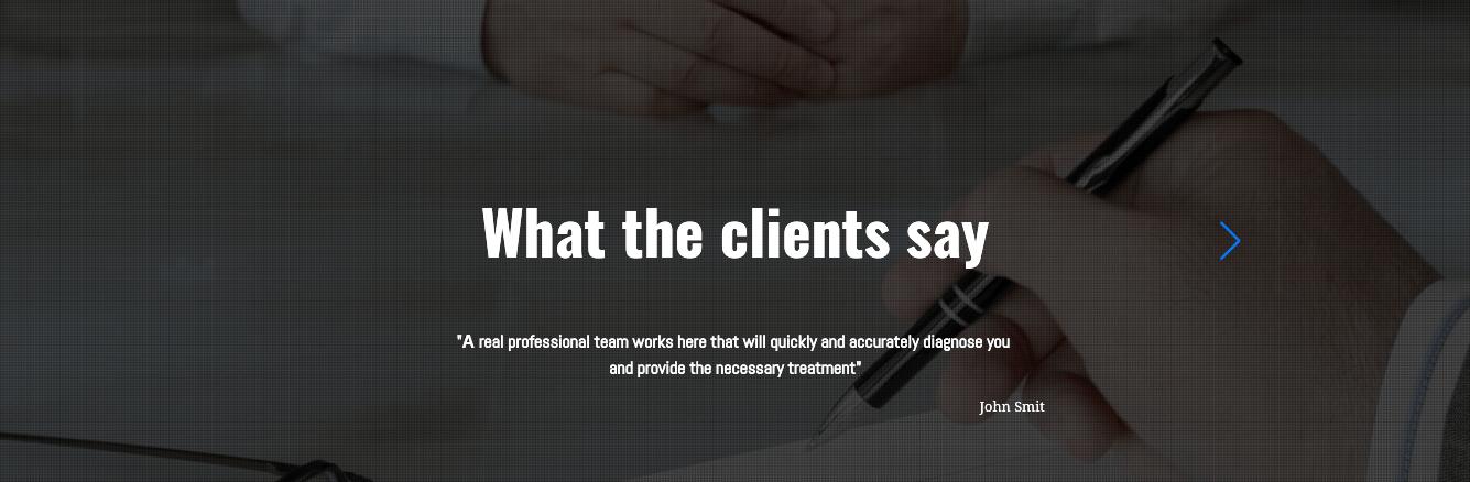 medical website template testimonials