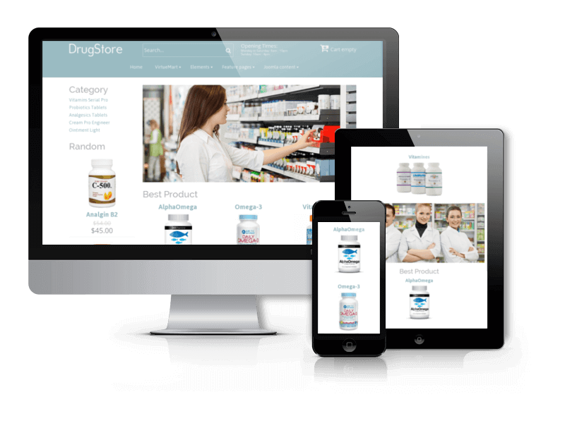 Joomla eCommerce template for Medical and pharmacy Drugstore