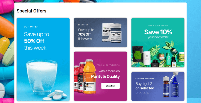 Joomla Pharmacy template Drugstore Section Special Offers
