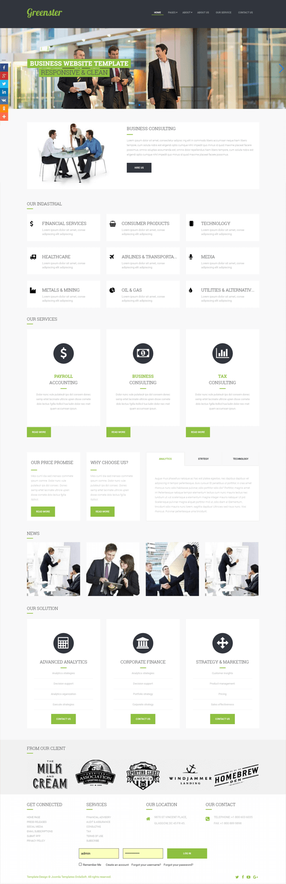 Greenster, Business Joomla template for create business website