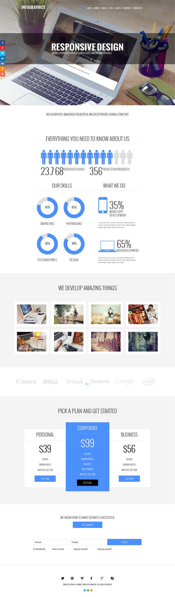 Infographics, Modern Portfolio Joomla Template