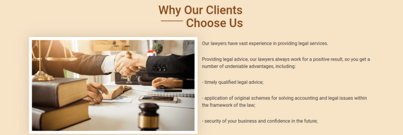 Justice. create law company website. Section Benefits