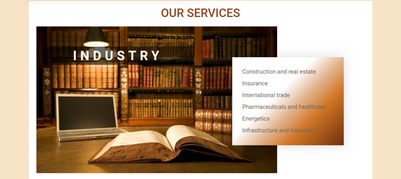 Justice. Create law company website. Block services, section industry