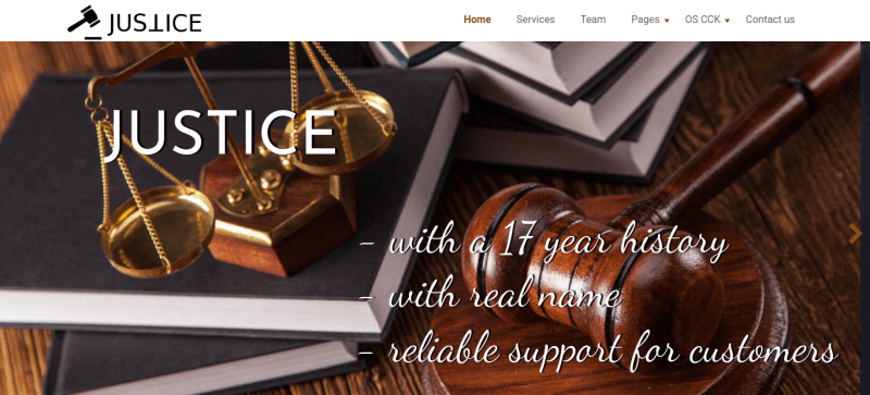 Justice. create law company website. With slider on main Page