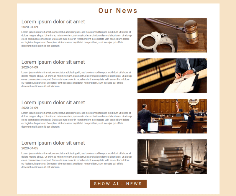 Justice. Create law company website. Section news