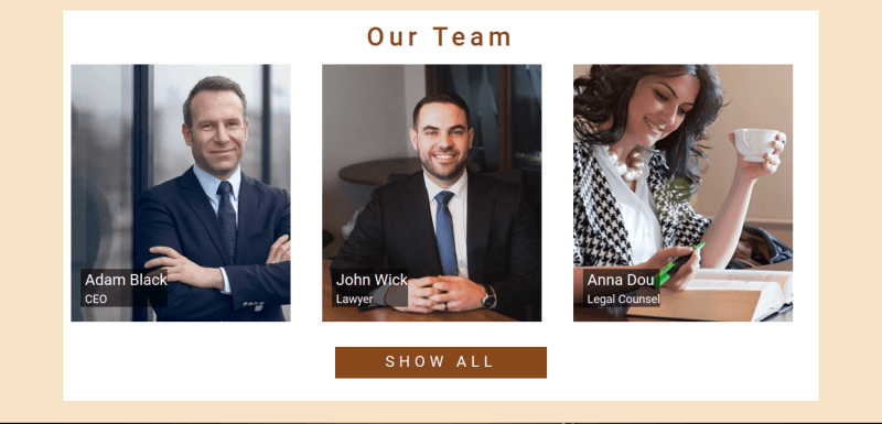 Justice. Create law website. Section our team