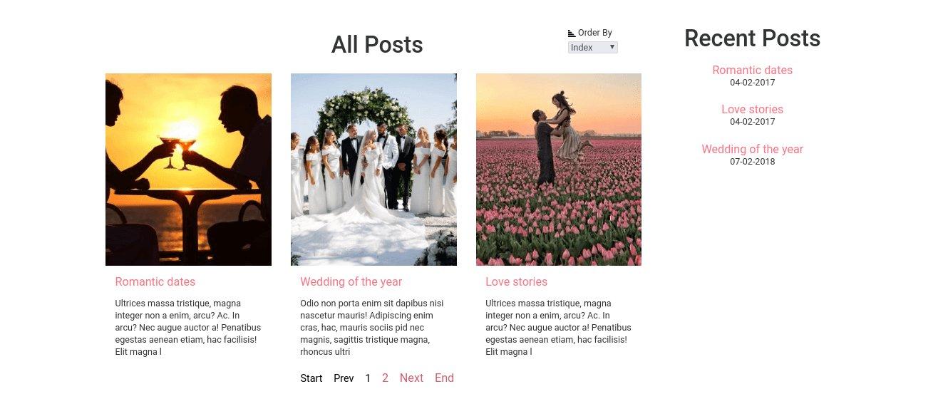 wedding website template blog