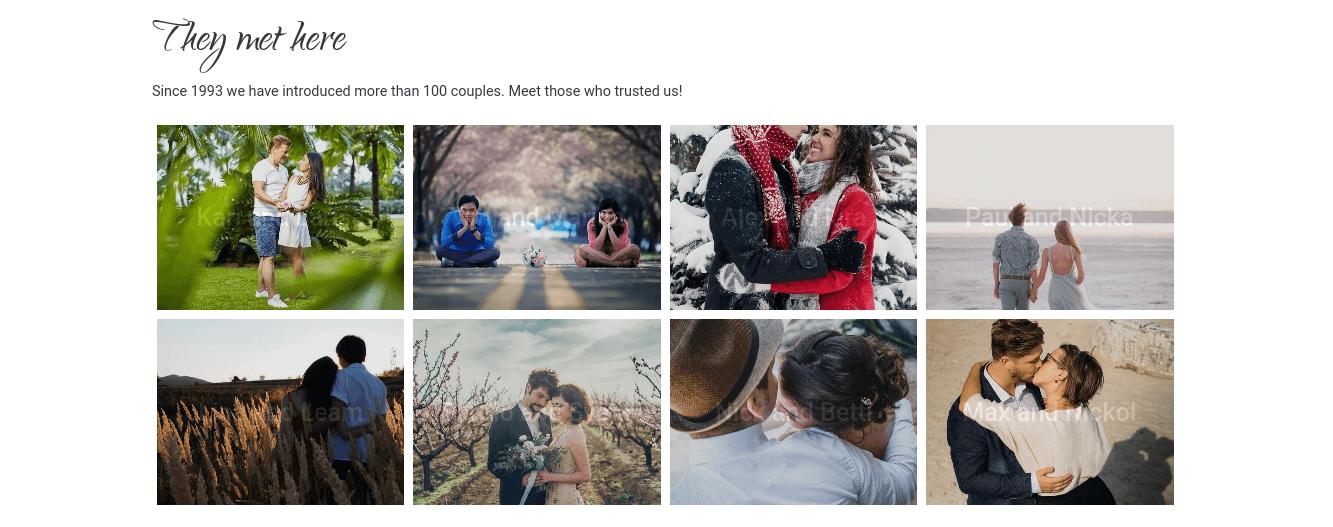 wedding website template gallery