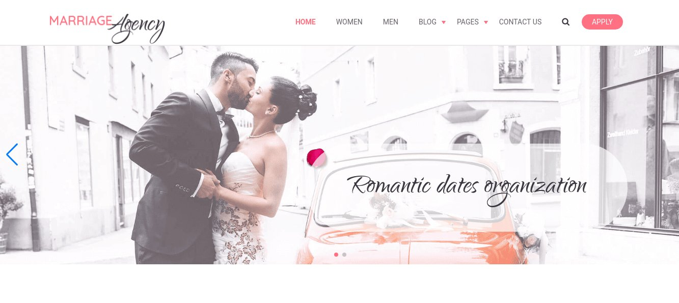 wedding website template slider