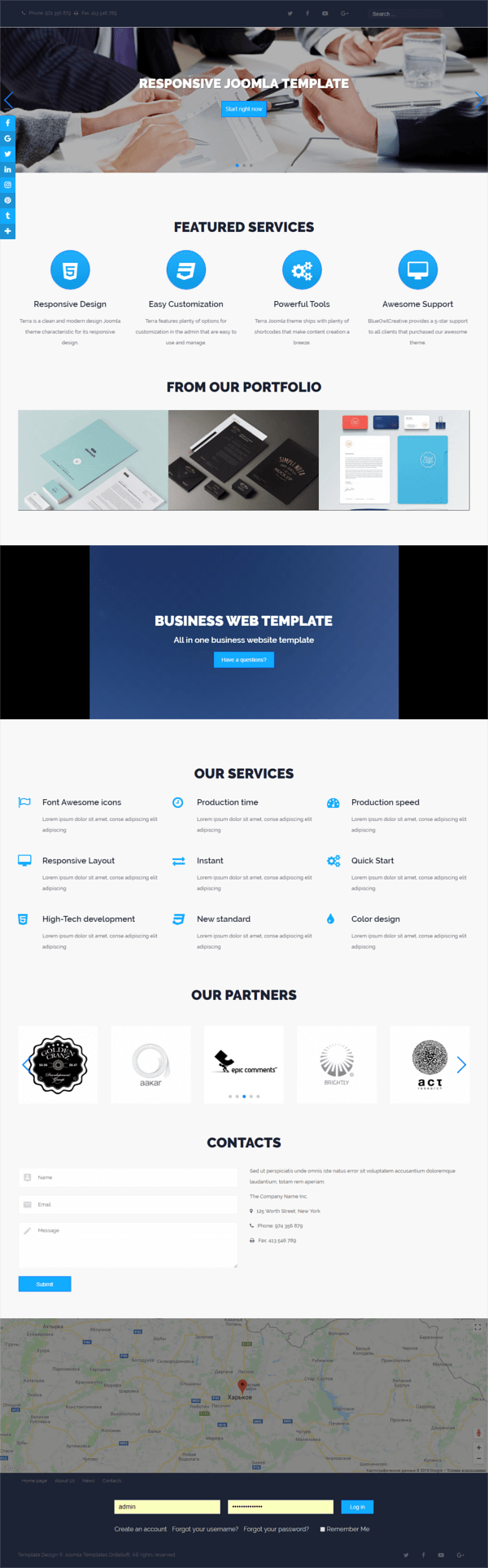 Rapture, Joomla business template for create business website, full screen