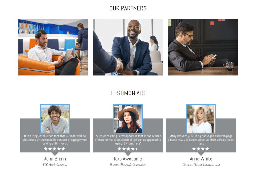 partners and testimonials section site template portfolio
