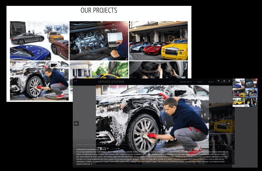 auto body shop site template, services presentation