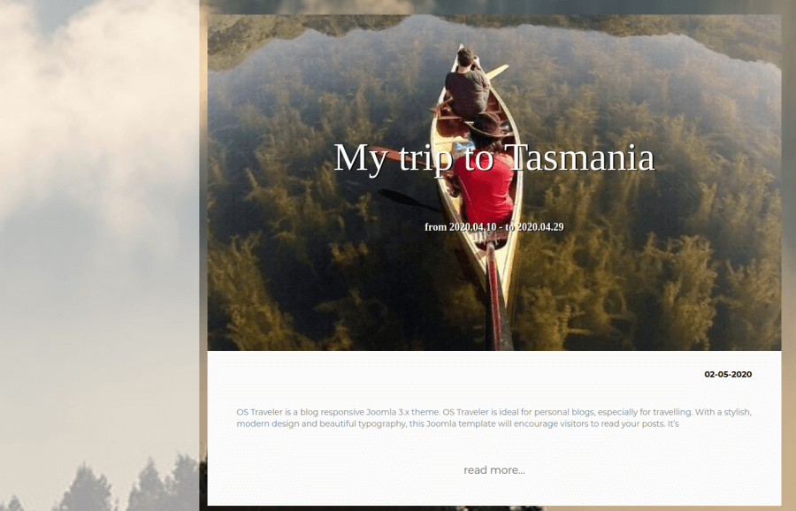 creative     blog post in Traveler, modern Joomla blog template