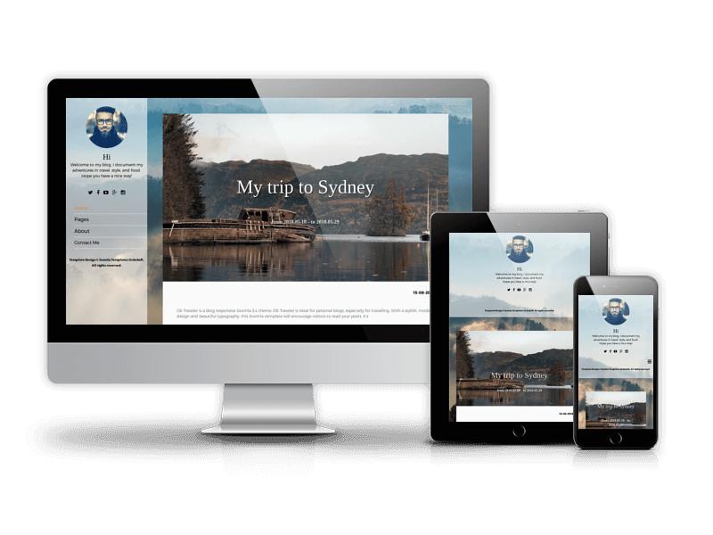 Traveler modern Joomla blog template