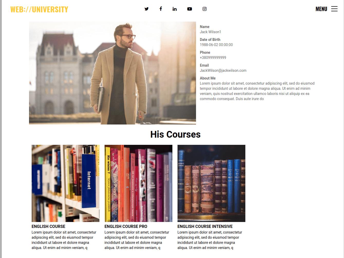 Web University, education website design, teacher profile