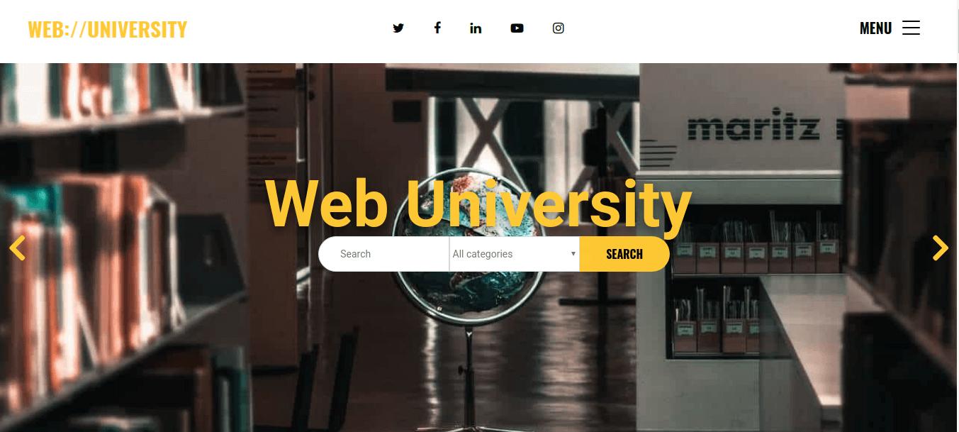Web university, education website template with Joomla Slider