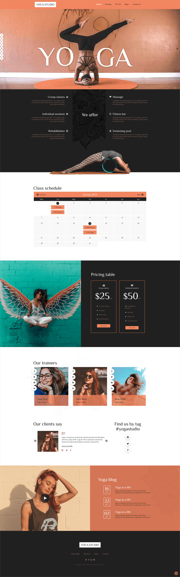 Yoga Studio - Joomla spa template, full screen