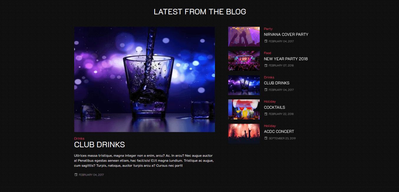 Club Website Template blog