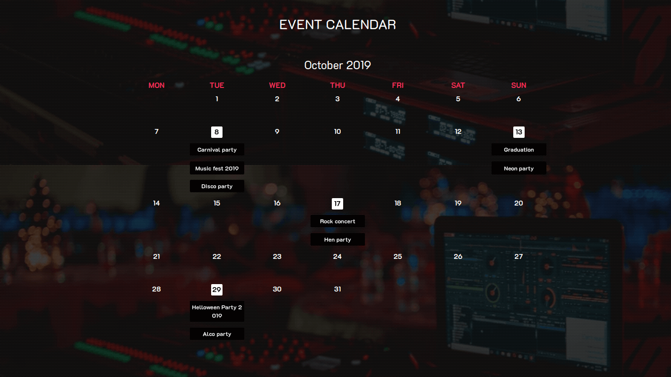 Event Website Template Calendar