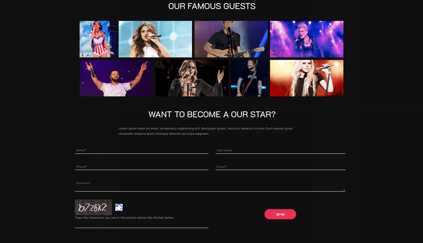 Club Website Template famous guests
