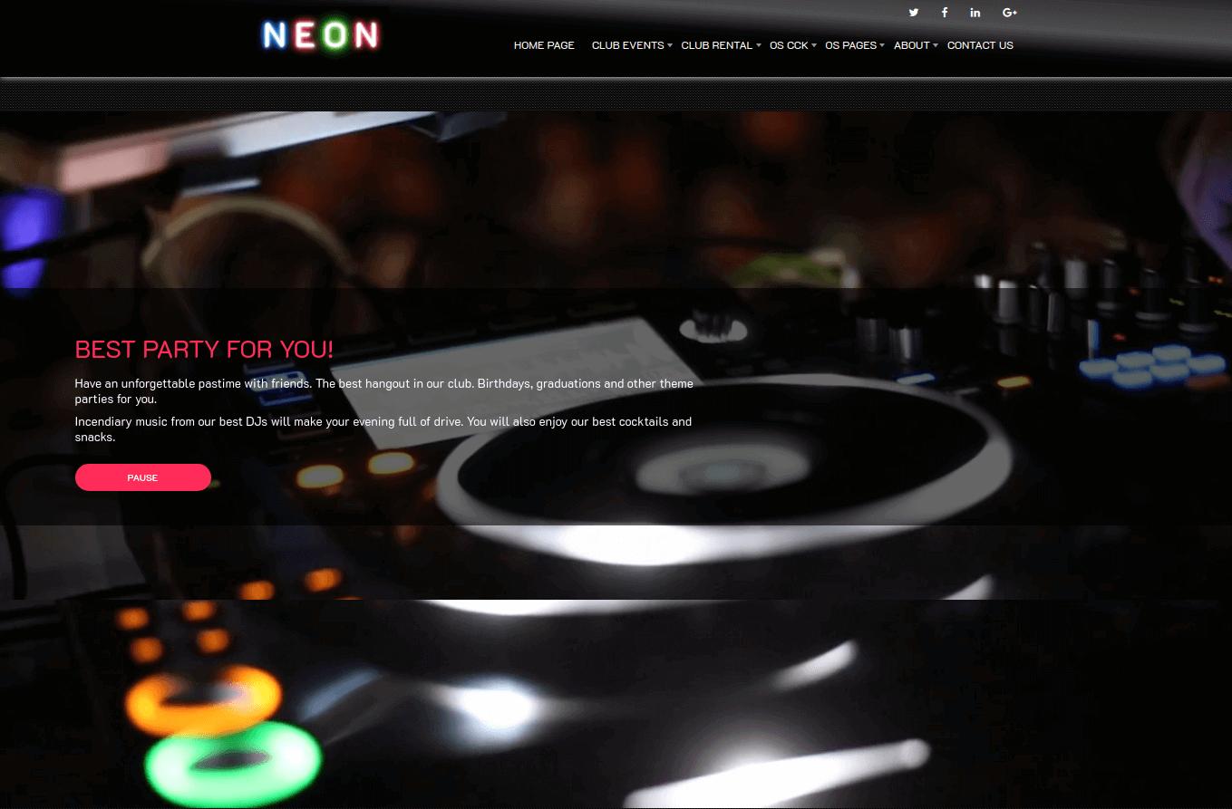 Club Website Template home menu
