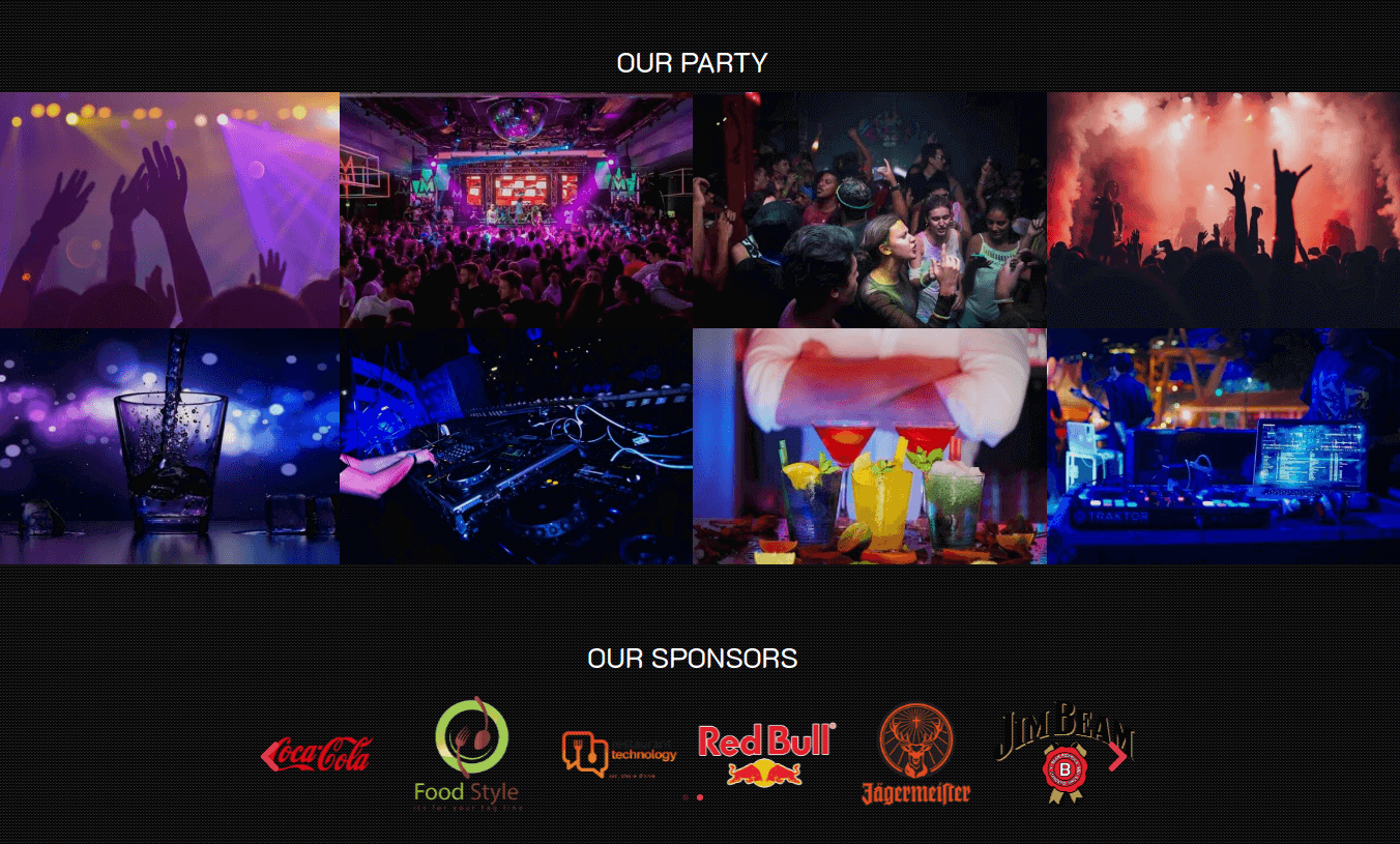 Event Website Template party and sponsors