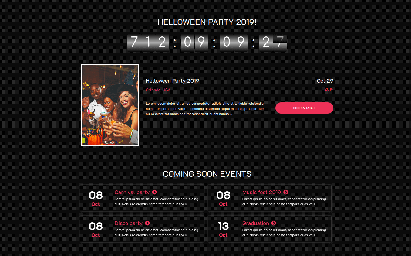 Event Website Template upcoming events