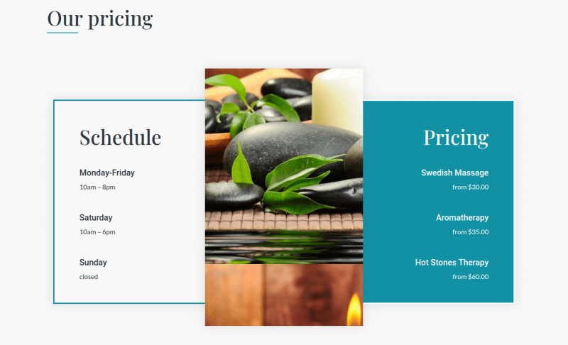 Schedule and Pricing of beauty salon website template